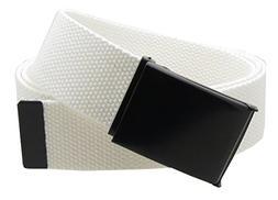 """Canvas Web Belt Flip-Top Black Buckle/Tip Solid Color 50"""" Lo"""