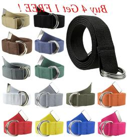 Canvas Web D Ring Belt Silver Buckle Military Style for men