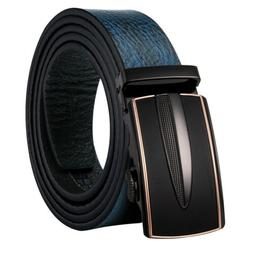 Casual Mens Belts Automatic Ratchet Buckles Blue Real Leathe