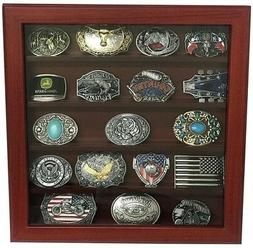 cherry wood wall belt buckle display case