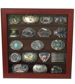 Cherry Wood Wall Belt Buckle Display Case with Five Rows for