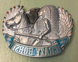 "CHIEF CRAZY HORSE BELT BUCKLE APPROXIMATELY 3 3/8"" X 2 1/2"""