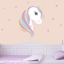 Colourful Unicorn & Stars Wall Art Vinyl Stickers Decal Deco