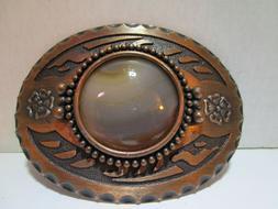 Copper Tone Men's Oval Belt Buckle Stone in Center NEW Free