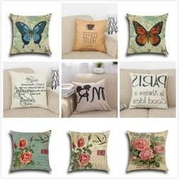 Cotton Linen Square Home Decorative Throw Pillow Case Sofa W
