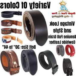 Cowhide Leather Belt Strap With Snap Closures For Belt Buckl