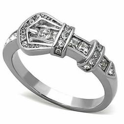 Crystal Belt Buckle Ring Silver Stainless Steel Girl Woman S