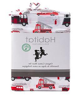 Habitat Kids Full Double Sheet Set Fire Trucks Construction
