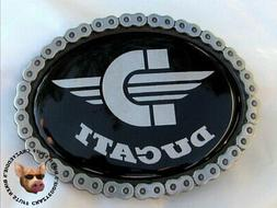 DUCATI OVAL MOTORCYCLE BELT BUCKLE WITH STORAGE POUCH *FREE