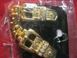 EARRINGS CLIP  GOLD COLOR BELT BUCKLE