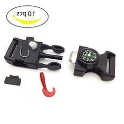 10 PCS Emergency Whistle Buckle Come with Compass Fire Start