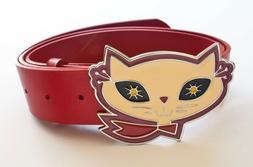 Enameled chrome metal decorative cat belt buckle w/vinyl red