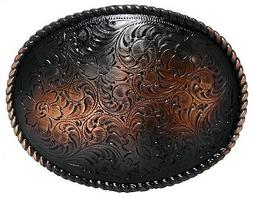Engraved Oval Rope Border Antique Copper Finish Western Belt