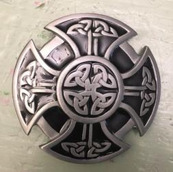 FANCY CELTIC KNOT ROPE  DESIGN IRISH BELT BUCKLE IRON CROSS