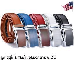 Fashion Men's Leather Ratchet Dress Belts with Automatic Buc