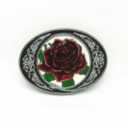 Fashion Rose Metal Flower Cowgirl Western Oval Belt Buckle G