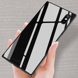 Fashion Square Tempered Glass Phone Case Cover For iPhone X
