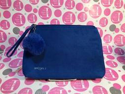 LANCOME FAUX SUEDE ELECTRIC BLUE ZIPPER Cosmetic Bag W/FAUX