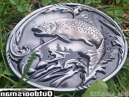 ✖ Fishing fish Belt Buckle Full Metal Trout  Antique silve