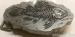 ♈ FISHING FISH FOSSIL Belt Buckle ♈ Skeleton Boneyard co
