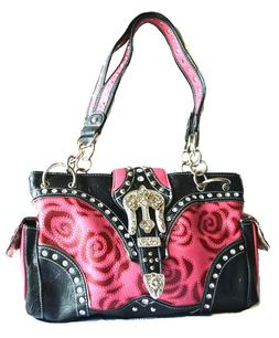 flower hot pink western rhinestone belt buckle  shoulder han