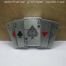 Funny 3D Belt Buckle Men Poker Cards Lighter Belts Head Remo