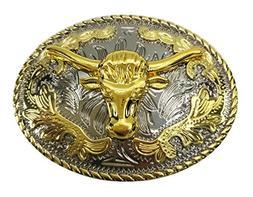 gold longhorn bull belt buckle