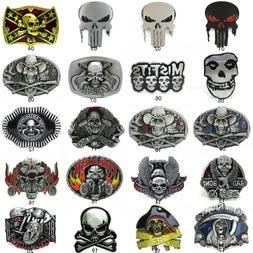 Gothic Punk Mens Western Cowboy Alloy Metal Skull Bone Motor