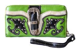 green lime western cowgirl rodeo bling belt buckle zipper cl