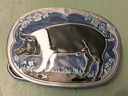 HAMPSHIRE PIG BELT BUCKLE APPROXIMATELY 3 X 2 1/8""