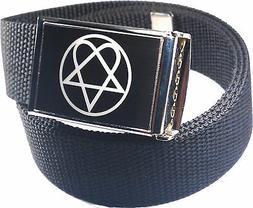 Heartagram Belt Buckle Bottle Opener Adjustable Web Belt
