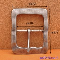 Heavy Duty Solid Antique Silver Center Bar Belt Buckle Fits