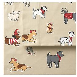 heavyweight flannel cotton sheet sets playful pups