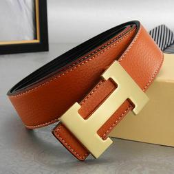 Hermes For Buckle H Metal Steel Belt Brown Black Leather For