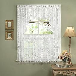 Hopewell Heavy White Lace Kitchen Curtain Choice of Tier Val