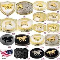 Horse Head Shoe Large Western Cowboy Rodeo Belt Buckle Men T