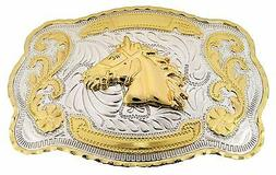 Horse Head Western Cowboy Rodeo Gold Large Belt Buckle Men W
