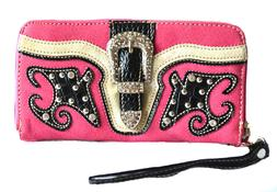hot pink western cowgirl rhinestone stud belt buckle zipper
