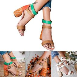 New! Women's Shoes Belt Buckle Roman Hemp Rope With High Hee