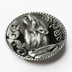 Howling Wolf Western Metal Belt Buckle