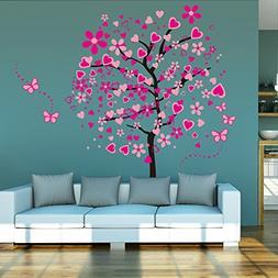 ElecMotive Huge Size Cartoon Heart Tree Butterfly Wall Decal