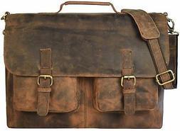 "18"" Inch Retro Buffalo Hunter Leather Laptop Messenger Bag O"