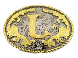 Initial J belt buckle Gold Silver Rodeo Western Cowboy Gift