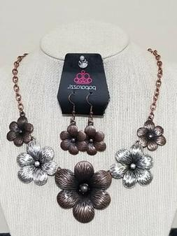 paparazzi jewelry necklace and earring set  Flowers ~ New