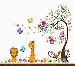 DEKOSH Kids Jungle Theme Peel and Stick Wall Decal, Colorful