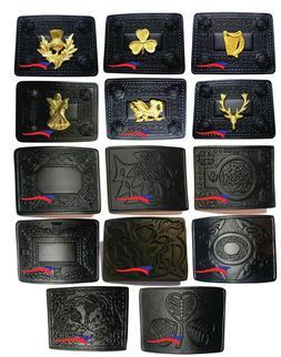 Kilt Belt Buckle Scottish Highland Various Designs Jet Black