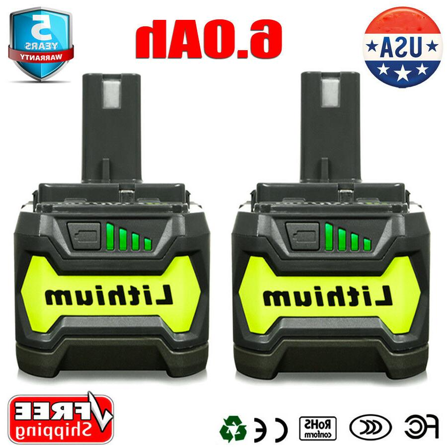 2 Pack New 6.0Ah P164 P193 for Ryobi ONE+ 18V Lithium-Ion Co