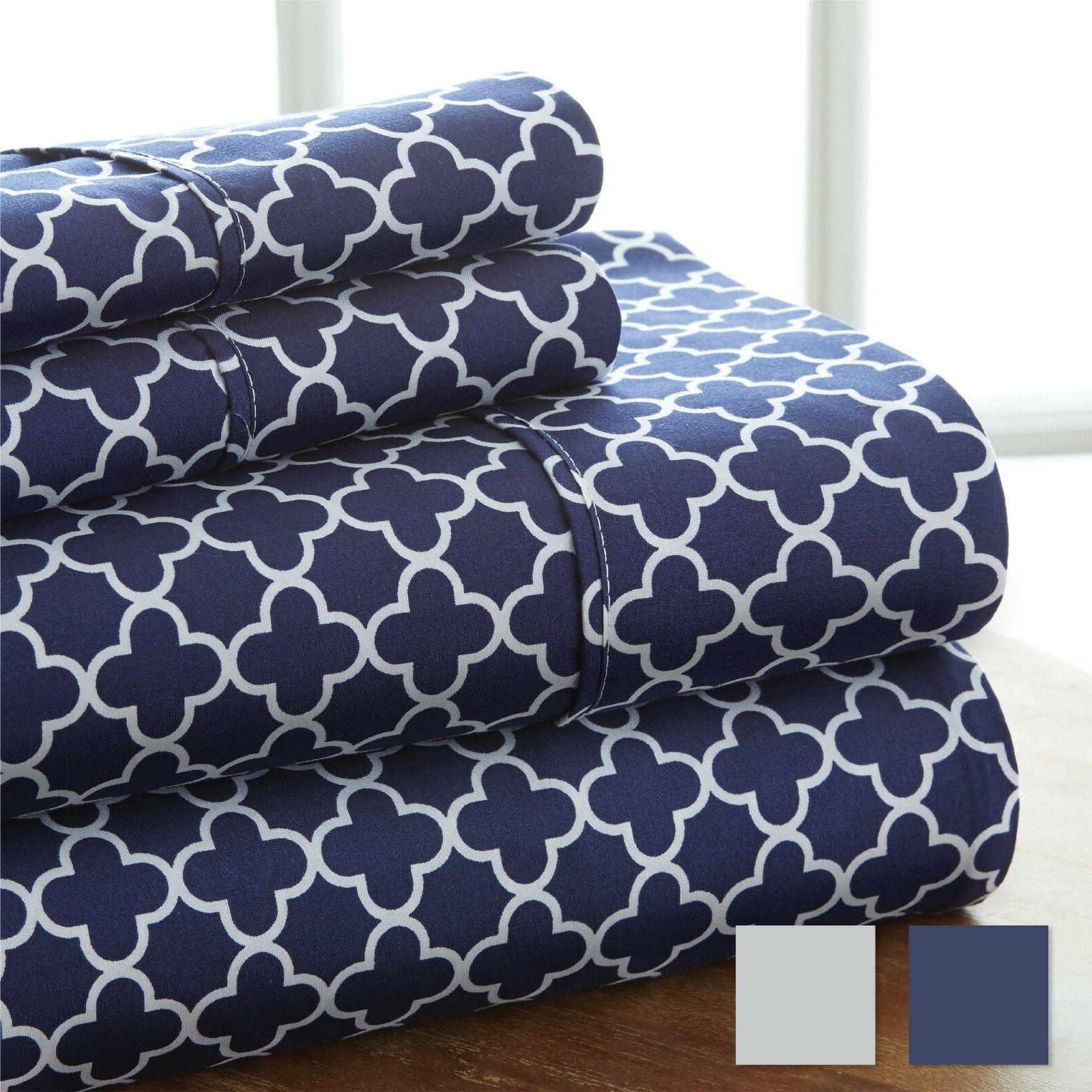 Hotel Collection - 4 Piece Quatrefoil Pattern Bed Sheet Set