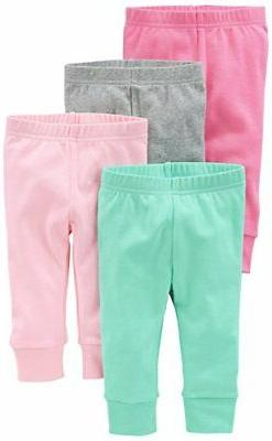 Simple Joys by Carter's Baby Girls 4-Pack Pant, Pink/Grey, 6