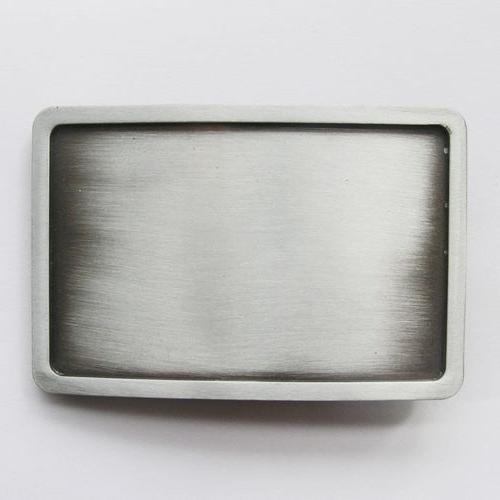 antique silver rectangle blank metal belt buckle